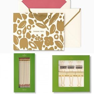 KATE SPADE Set of 3 Binder Clips, Cards, Pencils